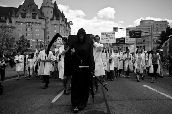 "Scientists march in Ottawa during the ""Death of Evidence"" rally. Via: Eight Crayon Science"